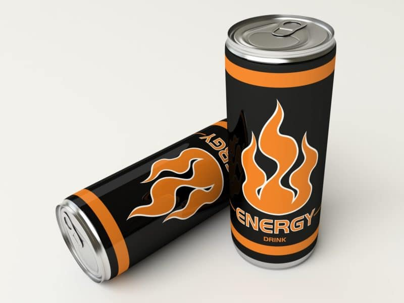 Energy drinks with yellow flames on cans