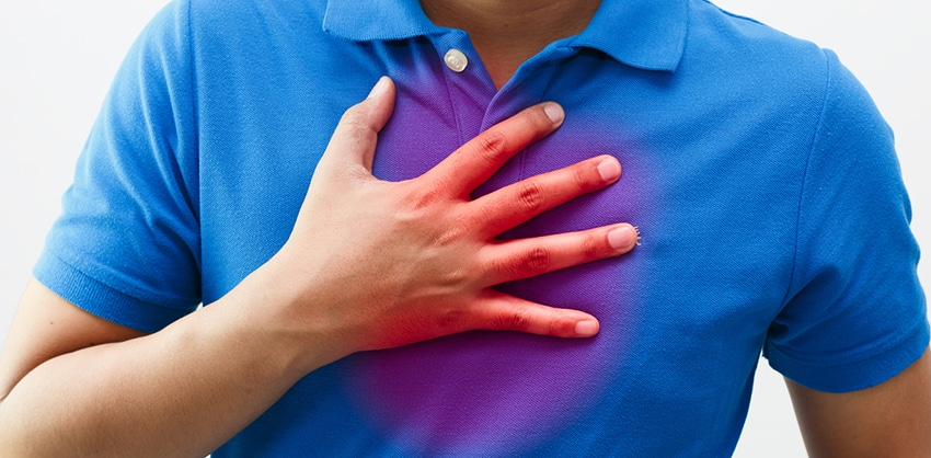 Man with symptoms of heartburn