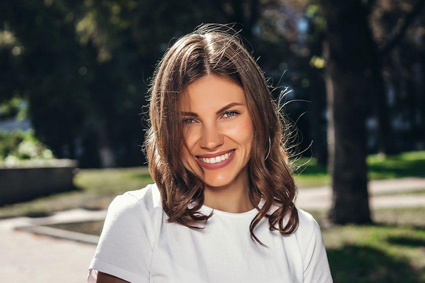 beautiful young woman enjoying the outdoors