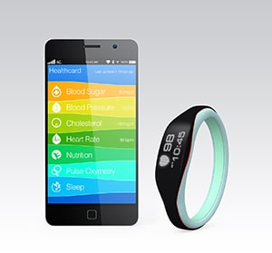 Phone with health and fitness app, next to a Fitbit